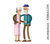 senior lady and gentleman with... | Shutterstock .eps vector #458661154