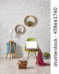 modern white brick wall...   Shutterstock . vector #458661760