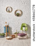 modern white brick wall...   Shutterstock . vector #458661778