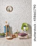 modern white brick wall...   Shutterstock . vector #458661790