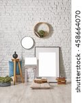 modern brick wall decor with... | Shutterstock . vector #458664070