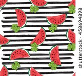 water melon seamless pattern... | Shutterstock .eps vector #458694898