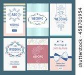 set of template wedding... | Shutterstock . vector #458701954