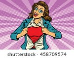 super hero woman ripping shirt... | Shutterstock .eps vector #458709574