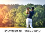 golfer hitting golf shot with... | Shutterstock . vector #458724040