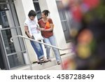 home carer helping disabled... | Shutterstock . vector #458728849