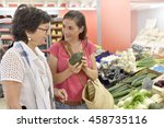 senior woman going to grocery... | Shutterstock . vector #458735116