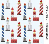 seamless marine pattern with... | Shutterstock .eps vector #458745664