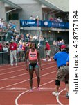 Small photo of EUGENE, OR - JULY 4, 2016: Alysia Montano finishes last after falling during the Women's 800m Final on day 4 of the USATF Olympic Trials at Historic Hayward Field in Eugene, Oregon.
