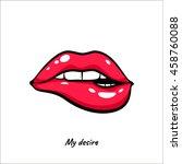 female mouth biting her lips... | Shutterstock .eps vector #458760088