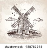 windmill in rural landscape ... | Shutterstock .eps vector #458783398