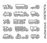 set line icons of trucks   Shutterstock .eps vector #458787976