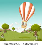 cartoon kids inside a hot air... | Shutterstock .eps vector #458793034