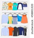 clothes on hangers. men s ... | Shutterstock .eps vector #458801320