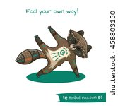 cute hand drawn tribal racoon... | Shutterstock .eps vector #458803150