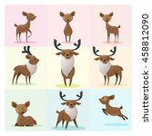 set of deer family   vector  ... | Shutterstock .eps vector #458812090