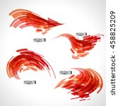 abstract 3d icon set with red... | Shutterstock .eps vector #458825209