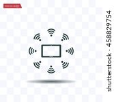 wifi around the tablet icon | Shutterstock .eps vector #458829754