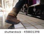 close up of traveler feet step... | Shutterstock . vector #458831398