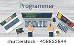 programmer at computer desk... | Shutterstock .eps vector #458832844