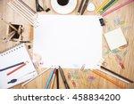 wooden desktop with blank paper ... | Shutterstock . vector #458834200