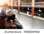 backpack and hat at the train... | Shutterstock . vector #458834968