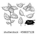 basil vector drawing set.... | Shutterstock .eps vector #458837128