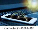 wifi icon and network... | Shutterstock . vector #458844433