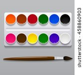 watercolor paints in a box with ... | Shutterstock .eps vector #458860903