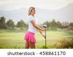 blonde female golfer holding... | Shutterstock . vector #458861170