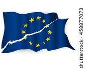 eu torn flag.brexit concept.... | Shutterstock .eps vector #458877073