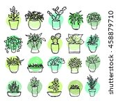 drawing houseplants collection. ... | Shutterstock .eps vector #458879710