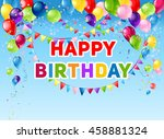 blue birthday card | Shutterstock .eps vector #458881324