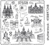 spain doodle landmarks.vector... | Shutterstock .eps vector #458897248