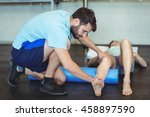 physiotherapist doing leg... | Shutterstock . vector #458897590