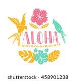 hawaiian design elements. aloha ... | Shutterstock .eps vector #458901238