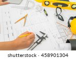 hand over construction plans... | Shutterstock . vector #458901304