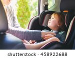 toddler girl buckled into her... | Shutterstock . vector #458922688