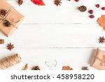Autumn Frame With Gift  Autumn...