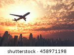 airplane flying over the city... | Shutterstock . vector #458971198