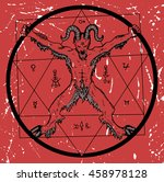 devil with pentagram in circle... | Shutterstock .eps vector #458978128