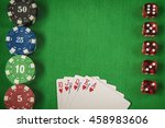 gambling chips  red dices and...   Shutterstock . vector #458983606
