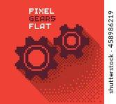 pixel gears  cogwheels in a... | Shutterstock .eps vector #458986219