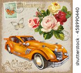 vintage postcard with retro car ... | Shutterstock .eps vector #458990440