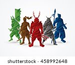 samurai warrior pose designed... | Shutterstock .eps vector #458992648