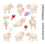 set of cute cartoon sheep... | Shutterstock .eps vector #459001063