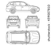 car suv drawing outline | Shutterstock .eps vector #459007810