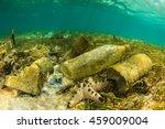 plastic bottles and rubbish... | Shutterstock . vector #459009004