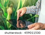 farmer using digital tablet... | Shutterstock . vector #459011530