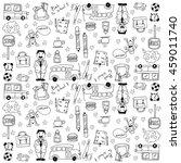 doodles school theme hand draw... | Shutterstock .eps vector #459011740